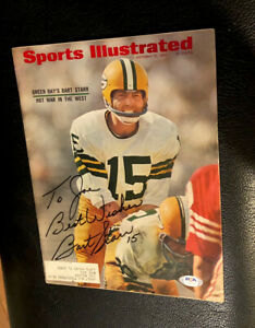 Bart Starr Signed Vintage Sports Illustrated PSA/DNA — GB PACKERS —