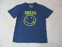 Nirvana Concert Shirt Adult Large Blue Yellow Smiley Face Rock Band Music Mens *