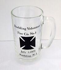 "Vintage 1975 ROEBLING VOLUNTEER FIRE CO. NO. 3 Clear Glass 5.5"" Mug  VGC"
