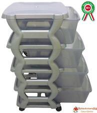 Mobile cassettiera grigia con 4 cassetti trasparenti in dura plastica di resina