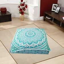 Cushion Cover Mandala Tapestry Square Floor Cushion Pouf Sea Green Color