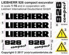 Sticker Decals LIEBHERR 926 compact Bagger M1:16 Aufkleber Transparent GESTANZT