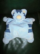 Doudou Nattou Chat Semi-Plat Bleu Nez Jaune Grelot 24 cm