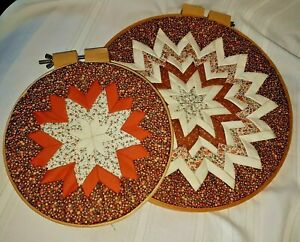 2 HAND QUILTED STAR DESIGN COLORFUL ROUND WOODEN HOOP WALL ART - EXCELLENT COND.