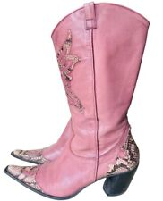 MODA PELLE Italy Pink Leather Boots Snakeskin Western Cowboy Heeled Pointed 40