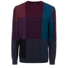 Paul Smith Men's Color Block Merino Wool Multicolored Crewneck Sweater Small