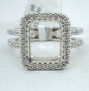 .56 ct NATURAL DIAMOND semi mount halo ring 14k white GOLD (center: 10 x 8 mm)