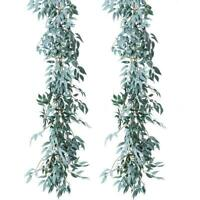 Artificial Willow Leaves 2PCS Gray Garland Faux Silk Plant Wedding Party Decor