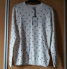 Whistles Spot Printed Crew Neck Cotton Knit Jumper White Uk8 10 12 8