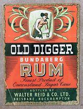 Bundaberg Old Digger Oz Cane Rum Ginger Beer Liquor Label Ad Vintage Metal Sign