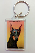 Doberman Pinscher Black Dog Key Ring Cropped