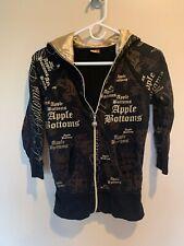 Apple Bottoms Women's Gold Logo Black Zip Front Hoodie Sweatshirt Sz SM