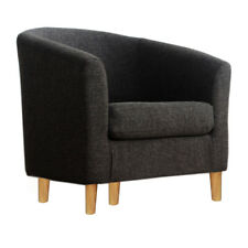 Black Linen Tub Chair Armchair Dining Room Retro Modern Office Furniture Sofa UK