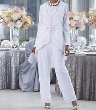Mother Bride Groom Women's Wedding beaded dress 3PC duster pant suit plus 1X2X3X