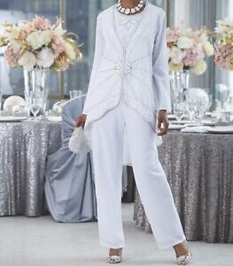 Mother of Bride Groom Women's Wedding beaded 3PC duster pant suit plus 1X 2X 3X