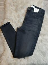Topshop Jamie High Waisted Skinny Ripped Knee Jeans Washed Black W28 L32 UK 10