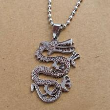 DRAGON NECKLACE Stainless Steel Pendant Charm with Chain Chinese Zodiac Talisman