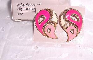PINK  CLIP EARRINGS KALEIDOSCOPE: ELEGANT =   AVON 1990 VINTAGE NEW