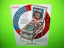 Gottlieb AQUARIUS Original 1970 NOS Flipper Arcade Game Pinball Machine Flyer