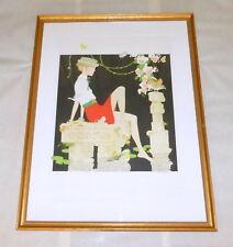 "Rare Vintage Philippe Noyer sgnd 44"" Frmd Lithograph Girl Garden Birds Flowers"