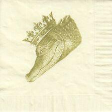 2 Cocktail Papier Servietten Napkins (6-2)  Krokodil mit Krone - selten