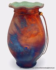 SW Raku Studio Art Pottery Vase Fluted Rim Matte Copper Turquoise Green Signd 9""