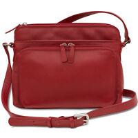 New Womens Leather Crossbody Bag Handbag Purse with Organizer, Red