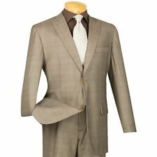 VINCI Men's Tan Glen Plaid 2 Button Classic Fit Suit w/ Peak Lapel NEW