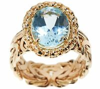 Oval Cut Genuine Blue Topaz Byzantine Band Ring REAL 14K Yellow Gold QVC
