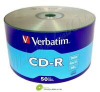 50 VERBATIM Blank 52X CD-R CDR Branded Logo 700MB Media Disc
