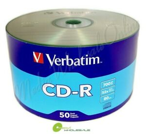 50 VERBATIM Blank 52X CD-R CDR Branded Logo 700MB Media Disc