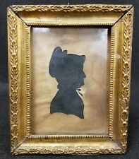 Early Antique Silhouette of a Woman in a Great Early Miniature Frame