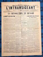 La Une Du Journal L'intransigeant 24 Janvier 1905 La Révolution En Russie
