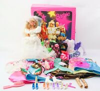 1987 Barbie Bride with 90's Barbie Doll Case w Clothes, Accessories Vintage Lot