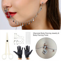 14G/16G Body Piercing Kit Needle Nipple Belly Tongue Eyebrow Nose Lip Ring js