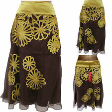 Monsoon Joei Marquis Cocoa Silk Embroidered Green Flower Applique Flare Skirt 10