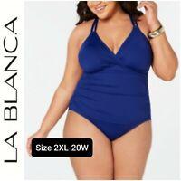 NWT LA BLANCA Women's One-piece Slimming Swimsuit  Plus Size 20W Blue