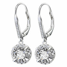 925 Sterling Silver CZ Topaz Diamante Water Drop Earring Dangle Leverback Luxury
