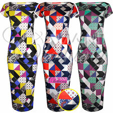 Plus Size Geometric Stretch, Bodycon Dresses for Women