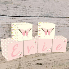 Personalised Wooden Name Blocks PRICE PER BLOCK/LETTER Custom Butterfly