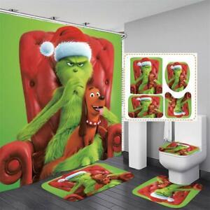 3D How the Grinch Stole Christmas Shower Curtain Bath Mat Toilet Cover Rug