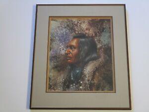 ALLEN A ADAMS ORIGINAL PAINTING NATIVE AMERICAN INDIAN CHIEF PORTRAIT VINTAGE