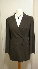 JAEGER 100% Virgin Wool Mink Brown Double Breasted Fitted Tailored Jacket UK 12
