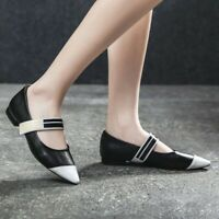 Women Loafers Colorblock Mary Jane Shoes Low Heel Flats Pointed Toe Pumps Casual