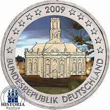 Saarland Ludwigskirche 2 Euro Deutschland 2009 bankfrisch in Farbe