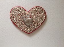 """11"""" red wooden Milagro heart hand made by A. E. Zapata in the U S A"""