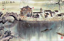 Framed Print - Traditional Japanese Artwork Village (Asian Oriental Picture Art)