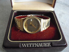 Vintage Wittnauer Gold Metal Quartz Mens Wrist Watch in Box LOOK