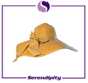 One Size Fashion Women's Summer Beach Yellow Sewn Braid Paper Hats with Bowknot