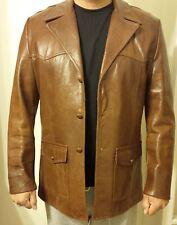 Men's Vtg 70's Brown Leather Car Coat Sport Jacket - TROJAN CLOTHES OF HOLLYWOOD
